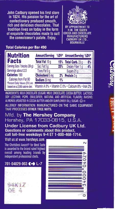 Cadbury Fruit And Nut Dark Chocolate Bar Ingredients